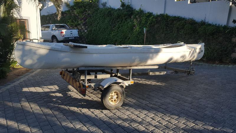 Canoes 2 x 2 seats on galvanized trailer