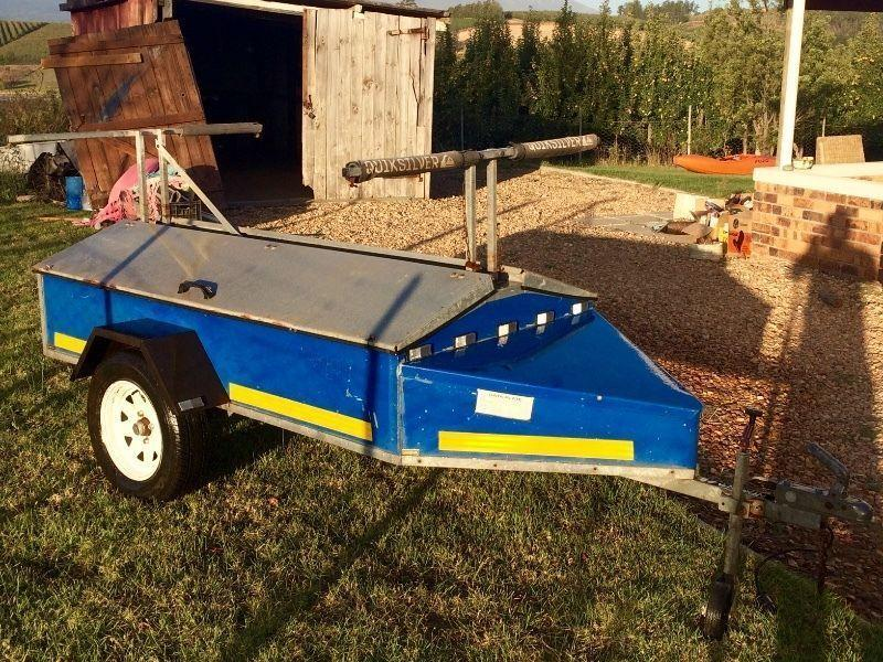 Windsurfing trailer and loads of gear