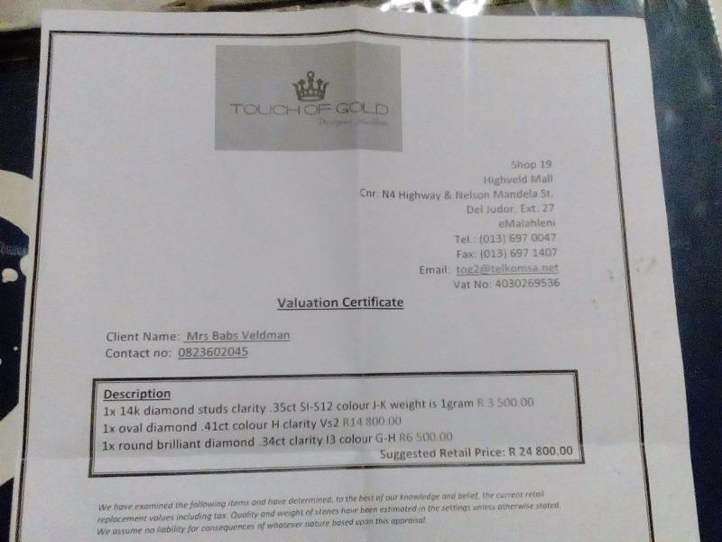 Diamonds worth valuation certificate to swop for bass boat