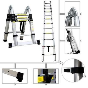 ADJUSTABLE LADDER ALUMINIUM TELESCOPE 3.8m (D)