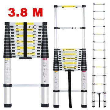 ADJUSTABLE LADDER ALUMINIUM TELESCOPE 3.8m (v)