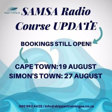 SAMSA SRC VHF Radio Course Cape Town: 19 Aug; Simon's Town: 27 August