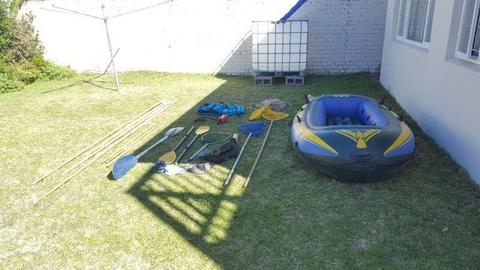 Rubber Dinghy,crayfish poles ,nets and misc