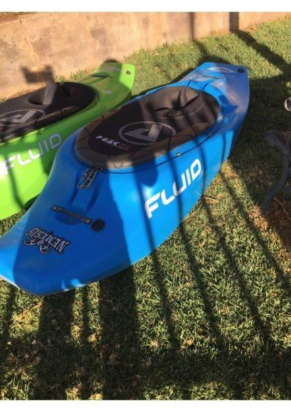 2 X Fluid Kayaks (Nemesis) Almost NEW