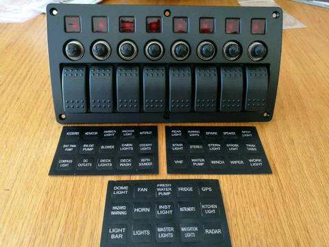 Switch Panel with 8 switches, fuses and names