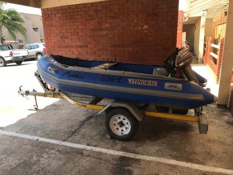3.4m STINGRAY SPORT WITH A 2016 YAMAHA 15HP 2 STROKE ON A LICENSED RMR TRAILER