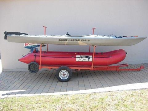 Kayaks, Rubber Duck and Motor, Trailer