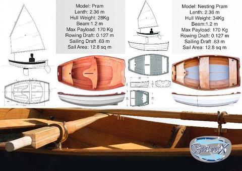 BUILT TO ORDER: Eastport Pram or Nesting Pram for sailing, rowing or outboard