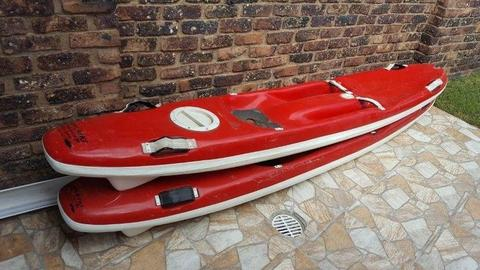 Rescue Ski / Paddle Ski / Kayak / Fishing Ski with hatch with paddles
