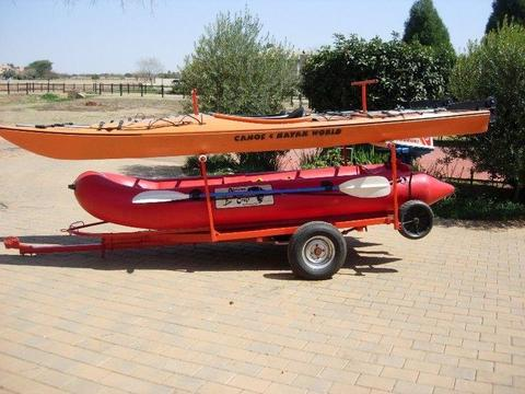 Rubber Duck with Motor, Kayaks, Trailer