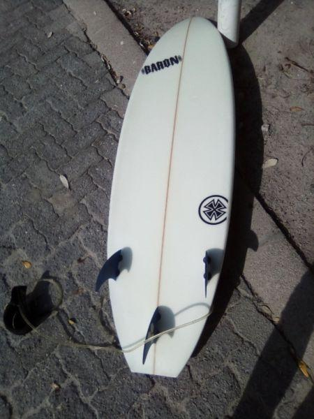 surf board with travel cover 6'1