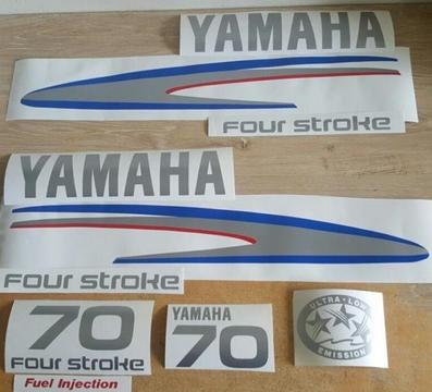 Yamaha 70 four stroke outboard motor decal sticker set